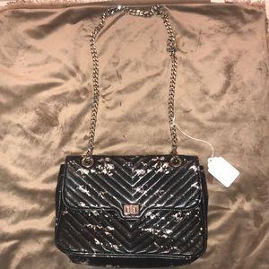 Steve Madden black & silver crossbody leather bag
